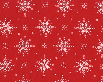 Stitch Snowflakes on Santa Red from Michael Miller Fabric's Woodland Winter Collection