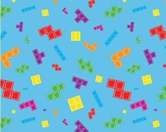 Blue Tetris Pieces Main from Riley Blake Fabrics
