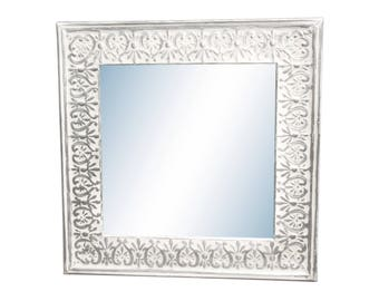 Hearts & Flowers 4.5 in. Tin Framed Cove Mirror - Larger Sizes