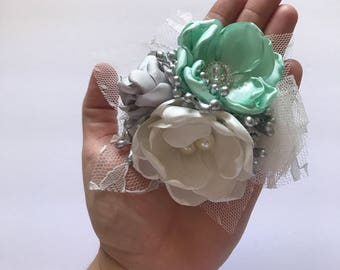 Silver, Mint and Cream Corsage Pin - Fabric Flower Pin, Wedding Corsage, Mother of the Bride, Groom's Mom, Pin, Brooch Pin, Mint and Silver