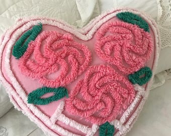 "Vintage Chenille, Pink Roses 'Sweet Heart' Pillow ~ The Perfect Valentine ~ Approximately 13"" x 13"""