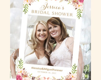 Bridal Shower Photo Booth Frame | Photo Frame | Photo Booth Prop | Vintage | Antique Gold | Floral Corner Options | I Create and You Print