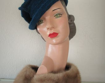 Tilt Hat Crochet Vintage 1930 1940s Style Ready to ship Pure Wool Downton Abbey