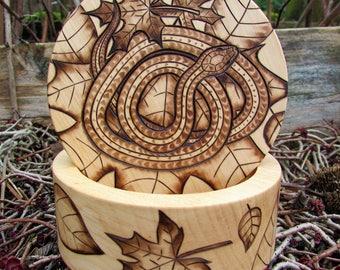 Snake Box With Leaves Wood Burning Pyrography on Round Alder Wood Box