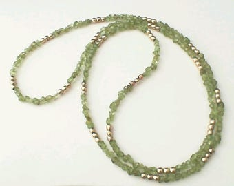 Peridot Necklace with copper and gold filled accents