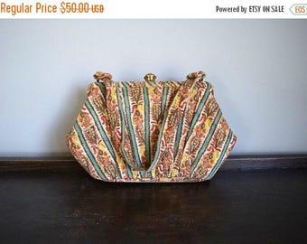 25% SALE Vintage 1930s purse . 30s print fabric purse