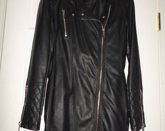90s Faux Leather Jacket Dress Vegan jacket Silver Zippers Quilted Trim Lined Small Black Faux Leather Jacket