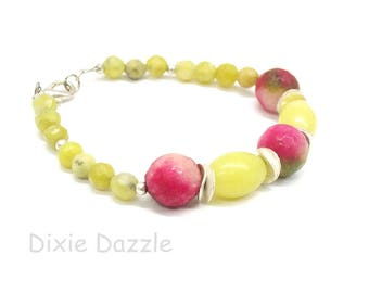 Green and pink bracelet, lemon jade and agate semiprecious stone jewelry, summer style jewelry, casual style, natural stones, made in USA