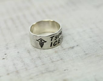 Medical Alert Jewelry- Personalized Rings- Sterling Silver Ring- Hand Stamped Ring- Silver Ring