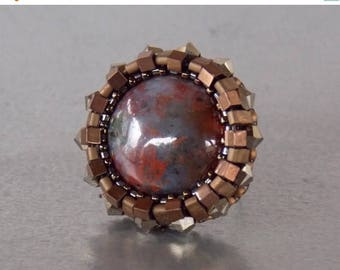 Summer sale -15% Bead embroidery, ring, Seed bead ring, Trending style , Agate,  Swarovski, Bronze