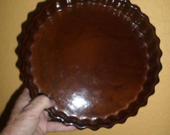 French Quiche/RED CLAY BROWN Glaze/Like New/Vintage