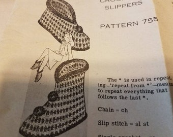 40's Crocheted Slipper Pattern - Crocheting Patterns, Needlecraft Art, Make Your Own Booties, Antique House Slipper Pattern, Mail Order