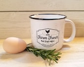 Perfectly Imperfect SALE on FARM FRESH But First Coffee White Speckled Ceramic Camp Mug 15oz.
