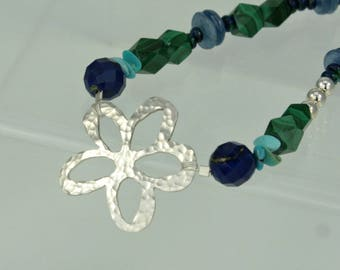 """Hammered Sterling Silver Flower & Bead necklace, Pierced Silver Flower, Lapis, Malachite, Turquoise, Azurite Malachite, Kyanite, Toggle, 18"""""""