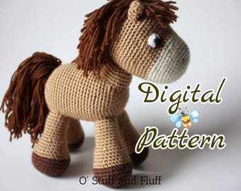 PATTERN- Horse PDF Pattern, amigurumi horse, crochet animal, Bullseye