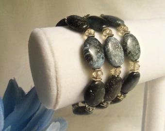 Enchanting Elegant Women's HandCrafted Black & Atomic Teal Agate Beads w/ STERLING Silver TRIPLE STRAND Bracelet- Birthday Gift Her Mom Wife