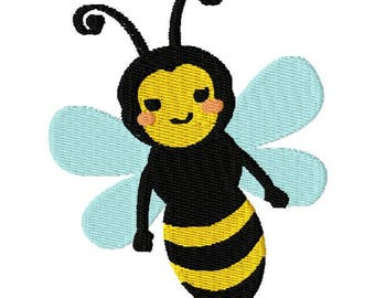 Cute Bee Machine Embroidery Design - Instant Download
