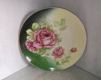 Vintage Pink Roses on Green Cottage Chic Plate 9 3/8""