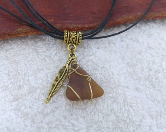 Triangle Brown Sea Glass Necklace. Wire Wrapped Sea Glass Pendant with Feather Charm. Genuine Frosted Seaglass. Israel Summer Beach Jewelry.
