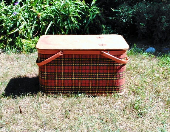 Vintage Picnic Basket - Plaid Picnic Basket - Red Plaid - Yellow Plaid - Cottage - Farmhouse
