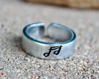 Music Heals Mantra Ring, Music Notes Ring, Music Heals, Music Jewelry, Adjustable Ring, Musician Ring, Music Heals Musical Notes Mantra Ring