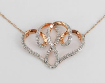 """Double Diamond Heart Pendant Rose Gold Necklace Chain 18"""" Wedding Gift"""