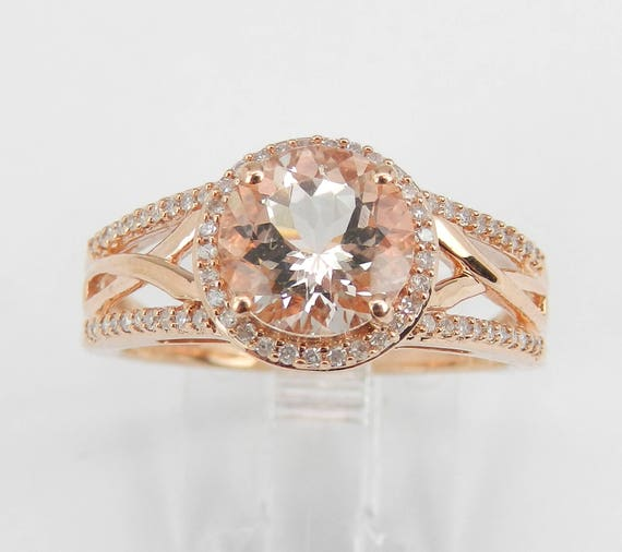 2.45 ct Morganite and Diamond Halo Engagement Ring Rose Gold Size 8
