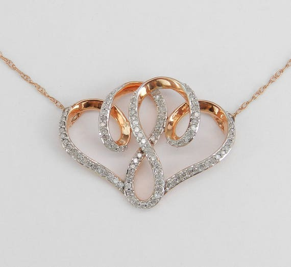 "Double Diamond Heart Pendant Rose Gold Necklace Chain 18"" Wedding Gift"