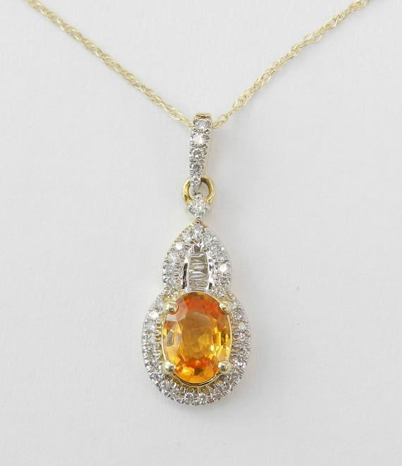 Diamond and Orange Sapphire Necklace Pendant 14K Yellow Gold Chain 18""
