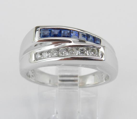 14K White Gold Sapphire and Diamond Bypass Wedding Ring Anniversary Band Size 7