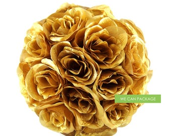 SALE! 10 Inch Metallic Gold Kissing Ball - Hanging Flower Ball