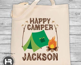 Happy Camper Bag - Personalized Camp Tote Bag - Camping Treat Bag - Family Camping Trip  - Camping Party Favor Bag - Summer Camp Bag