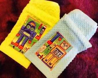 Retro Robot Wash Cloth Set
