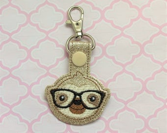 Geeky Sloth snap tab, Sloth keychain, Cute sloth with glasses keychain, Nerdy sloth keyfob, Geeky sloth key snap tab, Sloth snaptab