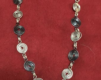 Handmade Swirl Wire Art Black and Silver Necklace