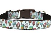 """Summer Dog Collar 3/4"""" or 1"""" Ice Cream Dog Collar"""