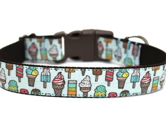 "Summer Dog Collar 3/4"" or 1"" Ice Cream Dog Collar"