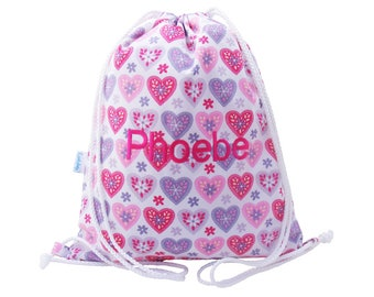 Personalised Swim Bag, Backpack, Drawstring Bag, Girls - Hearts