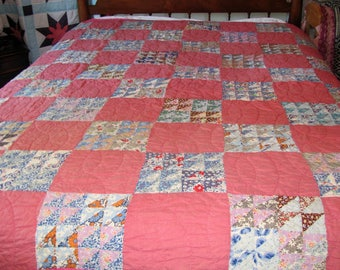 Handmade Patchwork Quilt / Feed Sack Quilt Twin Full Size 1930's