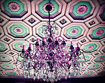 Chandelier Art, Chandelier Photography, Preppy Art, Teal and Pink, Preppy Pink Dorm, Hot Pink Art, Pink and Teal Nursery, Fashion, French