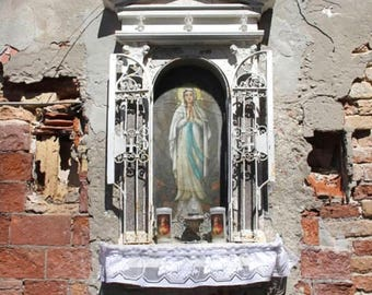 Venice Photograph, Travel Photography, Italy Picture, Madonella, Catholic Shrine, Venezia, Madonna, Crumbling Architecture