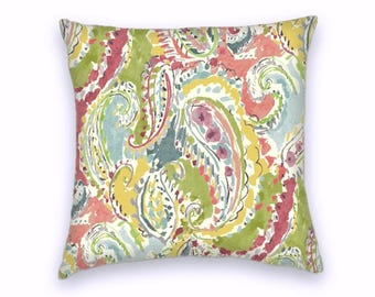 Pink Green Yellow Red Classic Paisley Decorative Throw Pillow-18x18 or 20x20 or 22x22- Pillow Cover- Accent Pillow