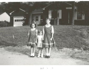 """Vintage Snapshot """"The Middle Child"""" Unsure Of Herself Older Sister Baby Sister Found Vernacular Photo Social Realism"""