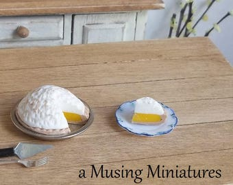 Lemon Meringue Pie Served on Plate in 1:12 Scale for Dollhouse or Miniature Kitchen Bakery