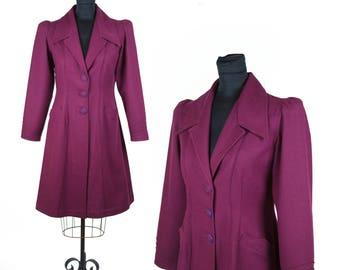 1940s Coat // Burgundy Wool Puff Sleeve Art Deco Lines Coat