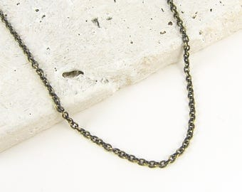 Brass Necklace Chain - Brass Chain 24 Inch Small Link Cable Necklace  CH1-AB24