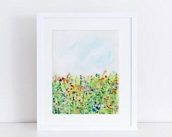Watercolor Floral Print, Abstract Landscape, Fine Art Print, Wildflower Art, Modern Art Print, Garden Print, Minimalist