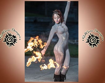 MYSTIC GODDESS - Juniors / Womens Cut and Weaved, Catsuit - Festival Wear, Performance Wear, Burning Man Wear