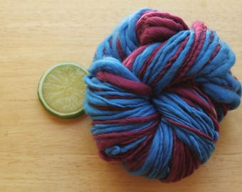 Volleyball - Handspun Merino Wool Yarn Self Striping Bulky Blue Purple Raspberry