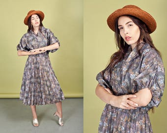 70s Gray Floral Pleated Dress Vintage Grey Slouchy Summer Dress
